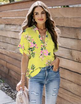 Γυναικεία μπλούζα φλοράλ 2409 κίτρινη