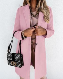 Γυναικείο κομψό παλτό με φόδρα 5332 ροζ