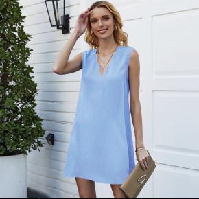 Γυναικείο φόρεμα με βαθύ ντεκολτέ 5198 γαλάζιο