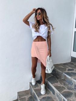 Γυναικείο σετ φούστα και μπλούζα 2467 ροζ