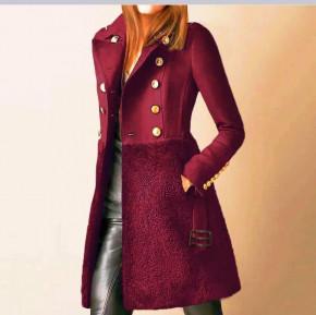 Εντυπωσιακό παλτό με φόδρα 5416 μπορντό