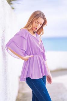 Γυναικεία μπλούζα με εντυπωσιακό μανίκι 5071 μωβ
