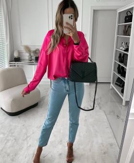Γυναικείο σατέν πουκάμισο 6073 φούξια