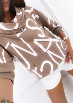 Γυναικείο φούτερ με φερμουάρ στον γιακά 4105 μπεζ