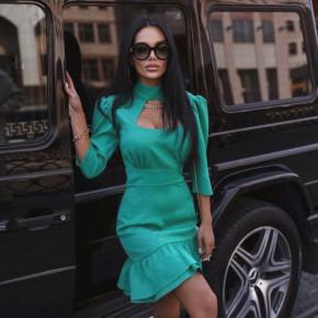 Γυναικείο κομψό φόρεμα με άνοιγμα στο ντεκολτέ 6012 τυρκουάζ
