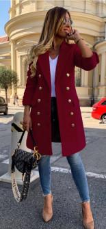 Γυναικείο παλτό διπλοκούμπωτο 38281 μπορντό