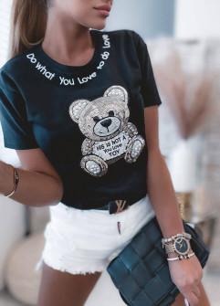 Γυναικείο κοντομάνικο αρκουδάκι 4625 μαύρο