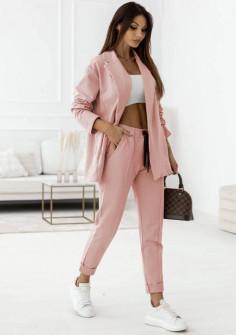 Γυναικείο σετ σακάκι-παντελόνι 21298 ροζ