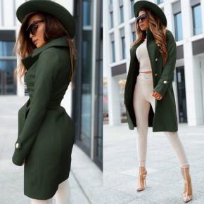Γυναικείο κομψό παλτό με φόδρα 6083 σκούρο πράσινο