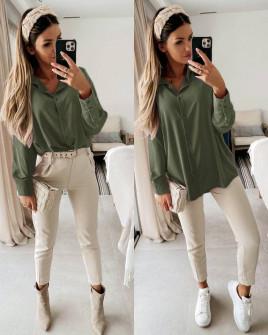 Γυναικείο μακρύ πουκάμισο 5549 σκούρο πράσινο