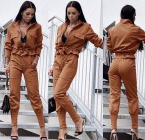 Γυναικείο σετ βελουτέ ζακέτα-παντελόνι 5962 καμηλό