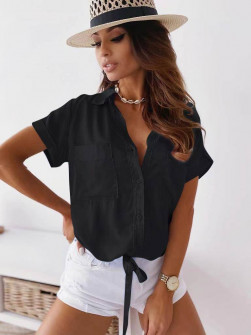 Γυναικείο πουκάμισο με δέσιμο 5606 μαύρο