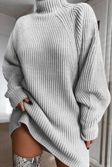 Χαλαρό πλεκτό μπλουζοφόρεμα 00806 γκρι