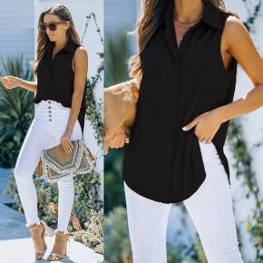 Γυναικείο αμάνικο πουκάμισο 21157 μαύρο