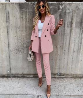 Γυναικείο σετ σακάκι και παντελόνι 5927 ροζ