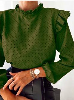 Γυναικεία μπλούζα πουά 5315 πράσινη