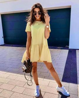 Γυναικείο κοντό χαλαρό φόρεμα 8212 κίτρινο