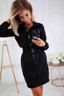 Γυναικείο φόρεμα με κουμπιά και ζώνη 3893 μαύρο