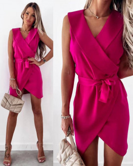 Γυναικείο φόρεμα κρουαζέ 5860 φούξια