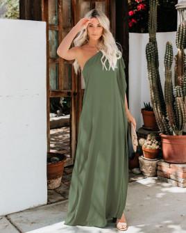 Дамска свободна рокля с един ръкав 5211 тъмно зелена