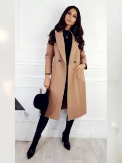 Γυναικείο παλτό με τσέπες και φόδρα 3781 καμήλο