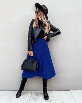 Φούστα σολέιγ 7563 μπλε