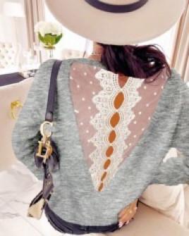Γυναικεία μπλούζα με εντυπωσιακή πλάτη  3251 γκρι