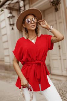 Γυναικεία μπλούζα με δέσιμο στη μέση 5226 κίτρινη