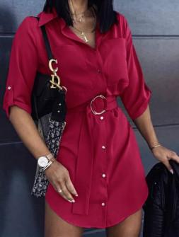 Γυναικεία πουκαμίσα με ζώνη 5316  μπορντό