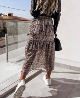 Γυναικεία εντυπωσιακή μακρύ φούστα 21146 καφέ