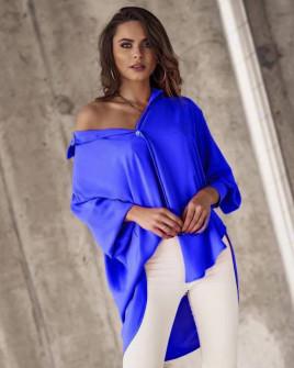 Γυναικείο χαλαρό πουκάμισο 21032 μπλε