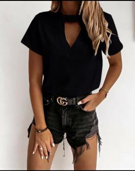 Γυναικεία κοντομάνικη μπλούζα 5167 μαύρη