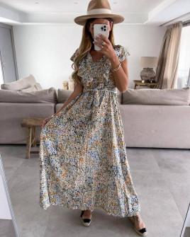 Γυναικείο μακρύ φόρεμα με print 371301