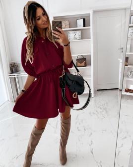 Γυναικείο φόρεμα με λάστιχο στη μέση 5324 μπορντό