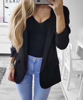 Γυναικείο κομψό σακάκι με φόδρα 3229 μαύρο