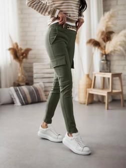 Γυναικείο παντελόνι με αλυσίδα στη ζώνη και τσέπες 5513 σκούρο πράσινο