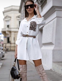 Γυναικείο μπλουζοφόρεμα με εντυπωσιακή τσέπη 2553 άσπρο
