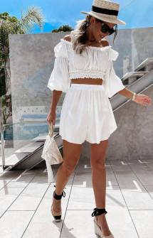 Γυναικείο σετ μπλούζα και σορτσάκι 5610 άσπρο