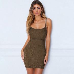 Κοντό φόρεμα λαμέ 3409 χρυσαφί