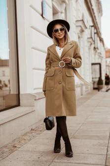 Γυναικείο παλτό με ζώνη 5373  μπεζ