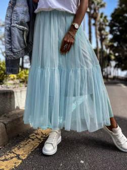 Γυναικεία αέρινη φούστα 5488 γαλάζια
