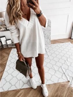 Γυναικείο χαλαρό πουλόβερ 8056 άσπρο
