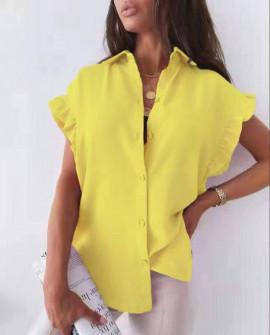 Γυναικείο χαλαρό πουκάμισο 54991 κίτρινο