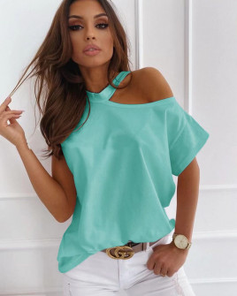 Γυναικεία μπλούζα με έναν ώμο έξω 5030 τυρκουάζ