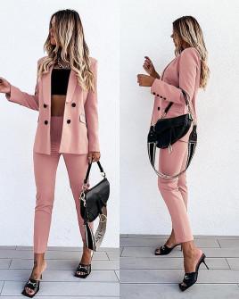Γυναικείο σετ σακάκι με φόδρα και παντελόνι 5297 ροζ