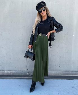 Γυναικεία μακριά φούστα πλισέ 6064 πράσινο