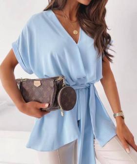 Γυναικεία μπλούζα με ζώνη 5605 γαλαζια