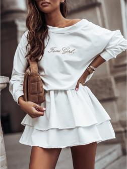 Γυναικείο σετ μπλούζα και φούστα 4095 άσπρο