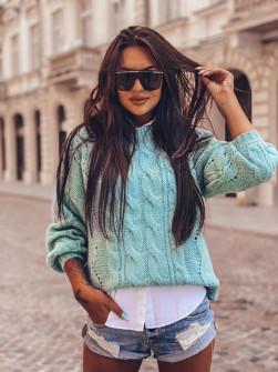 Γυναικείο εντυπωσιακό πουλόβερ 8053 μέντα