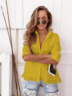 Γυναικείο πουκάμισο με δαντέλα 21069 κίτρινο
